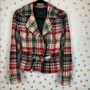 Express Jacket Wool Blend Crop Red Plaid Size S